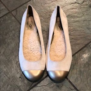UGG Australia Natural Suede Sheepskin Ballet Flats